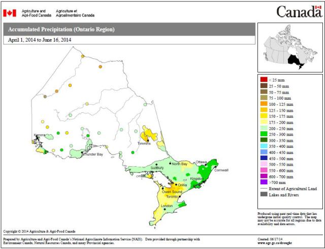 Figure 4: Accumulated Precipitation, Ontario, April 1 - June 16 (Source Agriculture and Agri-food Canada: http://www5.agr.gc.ca/resources/prod/doc/pfra/maps/nrt/2014/06/on_gs_ac_s_e_140616.pdf)
