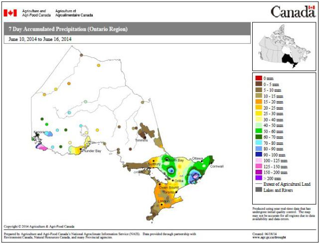 Figure 5: 7 Day Accumulated Precipitation, Ontario, June 10-June 16 (Source Agriculture and Agri-food Canada: http://www5.agr.gc.ca/resources/prod/doc/pfra/maps/nrt/2014/06/on_07_ac_s_e_140616.pdf)